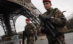 Armed security patrols around the Eiffel Tower