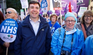 Andy Burnham with NHS campaigners on a march