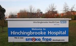 Sign welcoming visitors to Hinchingbrooke hospital