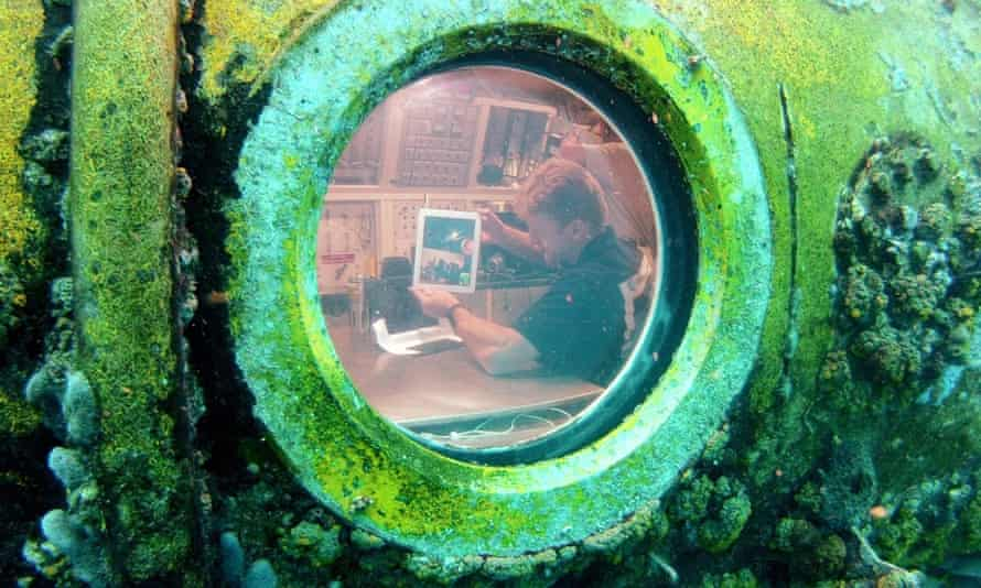 Astronaut Timothy Peake during his 12 day stay under water training for an asteroid mission.