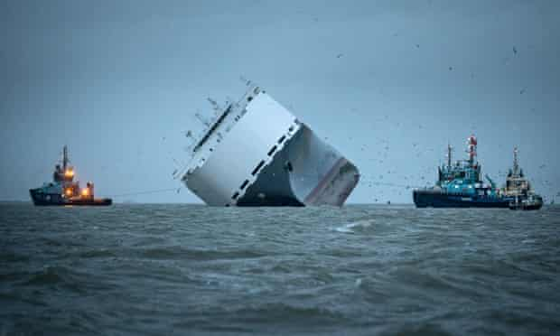 The Hoegh Osaka, a container ship carrying luxury cars, was run around in the the Solent last week