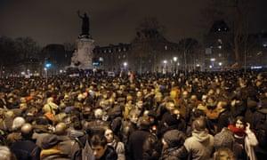 Demonstrators gather at the Place de la Republique on Wednesday.