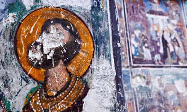 Turkey - Trabzon Province - damaged fresco at the Sumela monastery