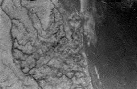 A picture of the surface of Titan taken by the Huygens space probe during its descent
