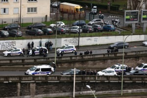 Police officers in eastern Paris