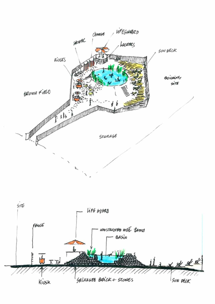 Architects sketch of the Kings Cross pond