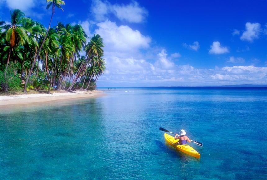 Sea kayaking in Fiji, South Pacific Ocean