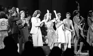 Lily Tomlin, Bette Midler and other Star-Spangled performers on stage. Photograph: Lennox McLendon/AP