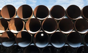 A depot used to store pipes for Transcanada Corp's planned Keystone XL oil pipeline is seen in Gascoyne, North Dakota.