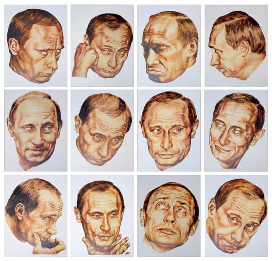 Portraits of Russian president Vladimir Putin by artists Dmitri Vrubel and Vika Timofeeva