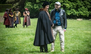 Peter Kosminsky, right, with Mark Rylance (Thomas Cromwell) during filming for Wolf Hall