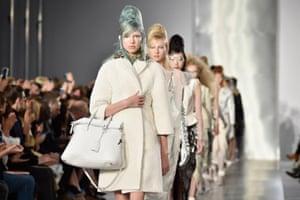 Models on the Maison Margiela catwalk.