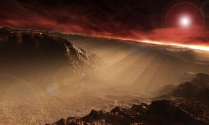 An artist's impression of the sun rising over Gale Crater on Mars. Photograph: Stocktrek Images, Inc./Alamy