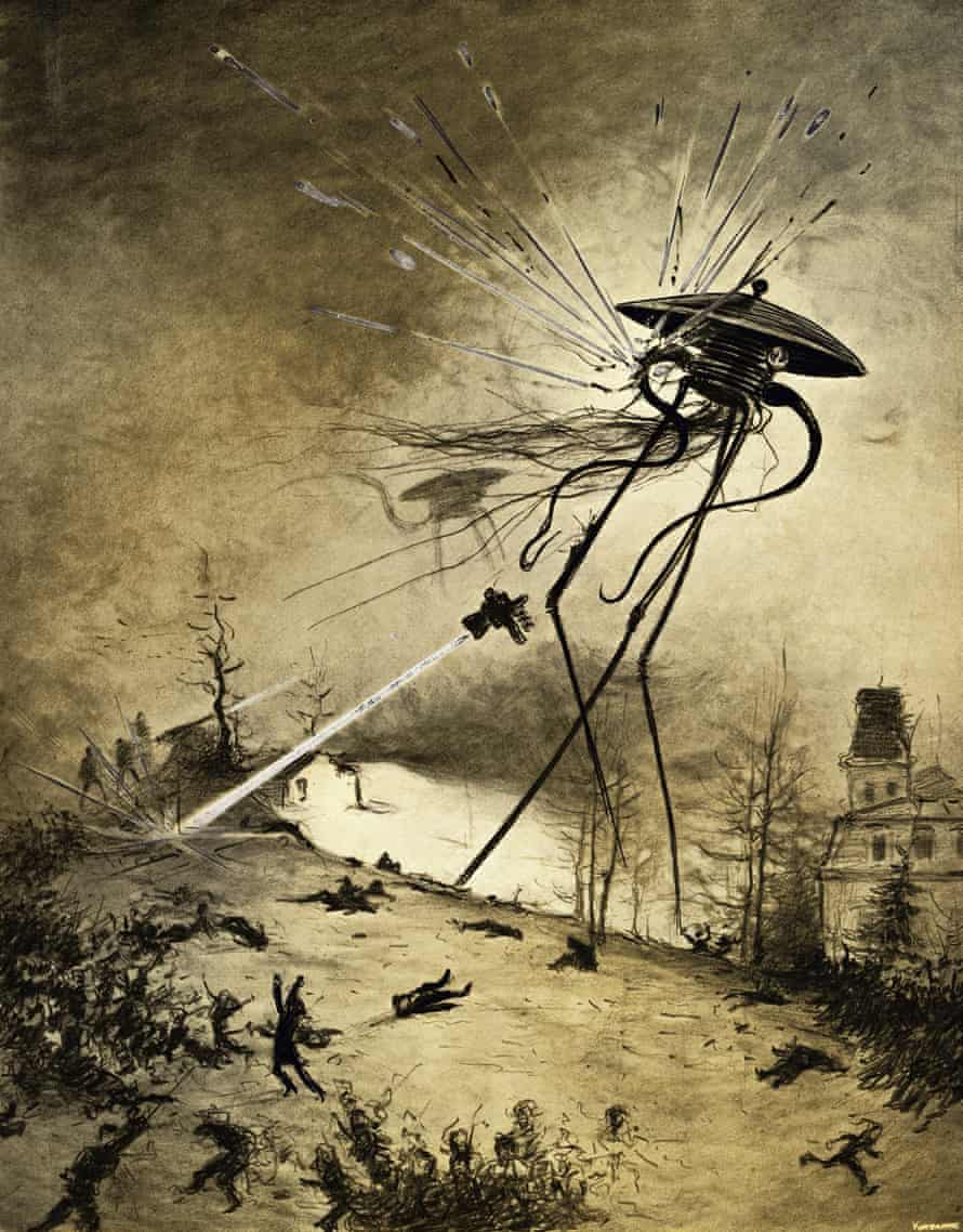 An illustration of Martians attacking from a 1906 edition of The War of the Worlds by HG Wells.