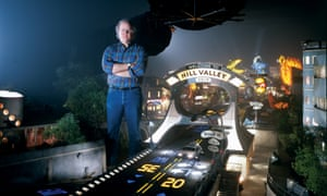 Thinking small … cinematographer Doug Trumbull on the miniature Hill Valley set.