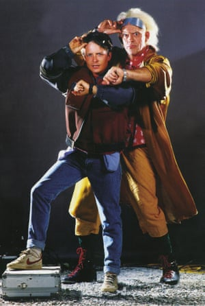 Michael J Fox and Christopher Lloyd photographed by Drew Struzan for BTTF2.