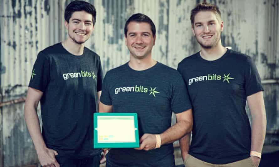 Andrew Katz, Ben Curren and Trade Robrock of cannabis tech startup Green Bits at TechCrunch Disrupt.