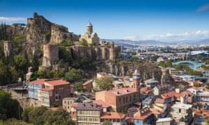 Tbilisi old town and Narikala fortress.