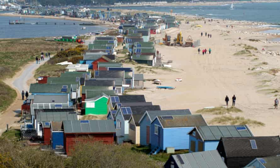 Beach houses with solar panels in Dorset