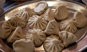 Traditional khinkali dumplings, stuffed with meat.