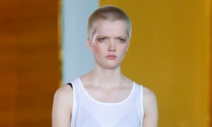 Model Ruth Bell on the Anthony Vaccarello SS16 catwalk.