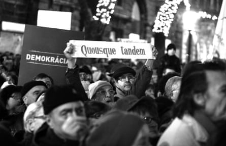 'How long yet?' … abanner bears a phrase from Cicero's speech  at a protest denouncing Hungary's new constitution, 2012.