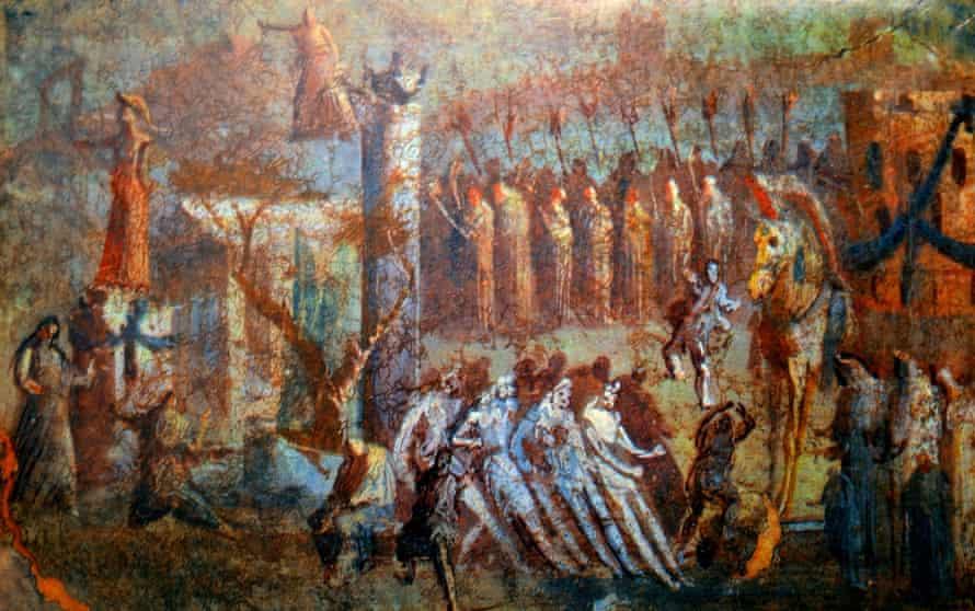 Detail from a fresco depicting the arrival of the Trojan Horse, from Pompeii.