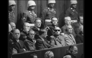 Nazis in the dock at Nuremburg before a screening of footage from Concentration Camps, 29 November 1945.
