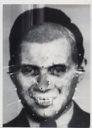 After life ... Richard Helmer's montage of the face and skull of Joseph Mengele, 1985.