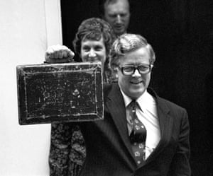 Howe and Elspeth leave No 11 Downing Street to present his first budget in 1970.