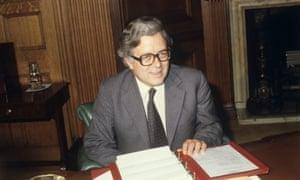 Sir Geoffrey Howe at the Treasury in Whitehall in 1979.