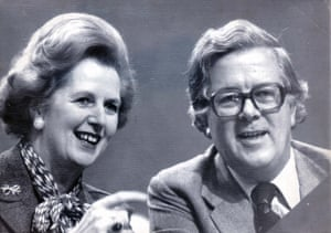 Margaret Thatcher and Geoffrey Howe at the Conservative conference in Brighton, 1980.