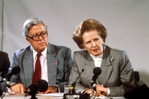 Geoffrey Howe and Margaret Thatcher at the EEC Summit in Copenhagen, Denmark in 1987