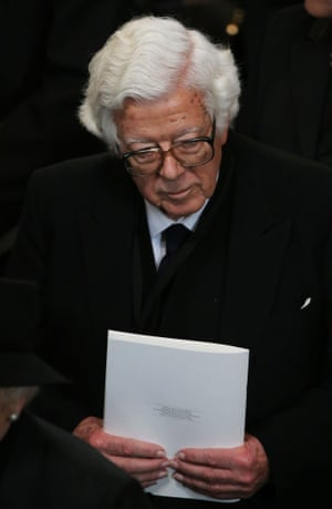 Former cabinet minister Geoffrey Howe leaves the Ceremonial funeral of former British Prime Minister Baroness Thatcher at St Paul's Cathedral on April 17, 2013 in London.