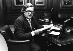 British statesman Geoffrey Howe, Chancellor of the Exchequer, working on budget papers.