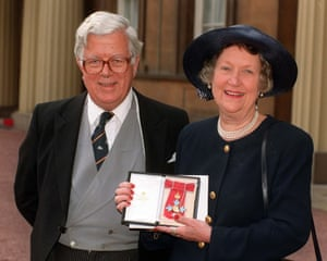 Lord and Lady Howe at Buckingham Palace in London, following an investiture ceremony during which she received a CBE from the Queen.