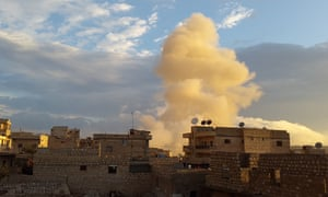 Air strikes launched by the Russian regime in the province of Aleppo last week.