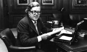 Geoffrey Howe working on budget papers