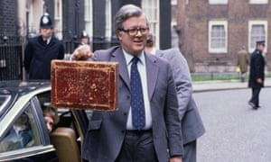 Geoffrey Howe on the way to delivering his 1980 budget speech