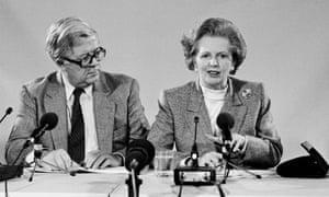 Geoffrey Howe and Margaret Thatcher at the European Union summit meeting in Copenhagen, December 1987