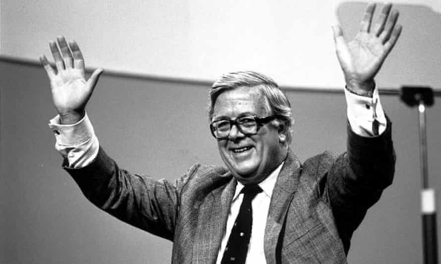 Geoffrey Howe addressing a Conservative party conference in Brighton