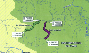 Detail from a Pluspetrol map sent in 2011 to Peru's Environment Ministry requesting permission to explore in Manu National Park. The two targeted rivers are the same as in the leaked map above.