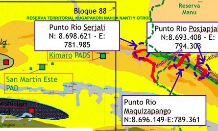 """Part of a Pluspetrol map showing its interest in doing """"geological fieldwork"""" in the Manu National Park in Peru's Amazon."""