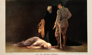 Print of a T. Corbella painting: Cavell, in a romantically floaty red cross nurse uniform, lies dead; a German officer stands over her brandishing a pistol, and next to him a skull-headed death figure holds a lantern over the body, his skeletal hand on the officer's shoulder