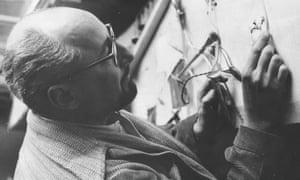 Frank Malina working in his studio, 1957