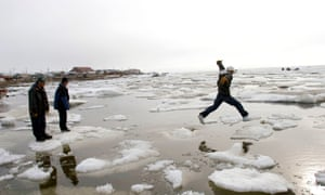 Inupiat Eskimos go ice-hoping on the Chukchi Sea.