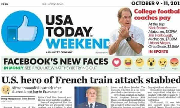 USA Today front page using emojis