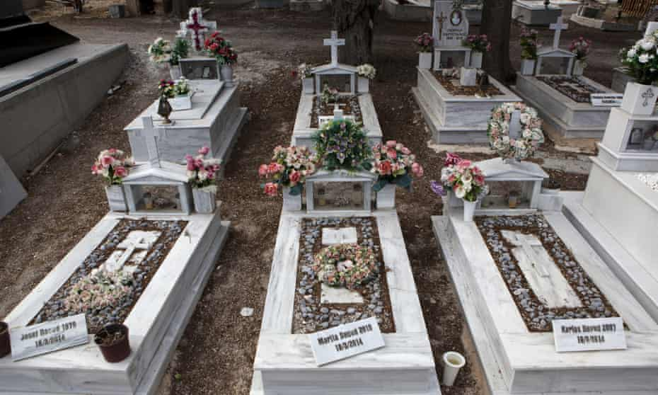 The graves on Lesbos of a Syrian Christian Orthodox family who drowned attempting to cross the Aegean from Turkey