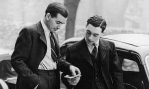 Men modelling post war suits, 1945.