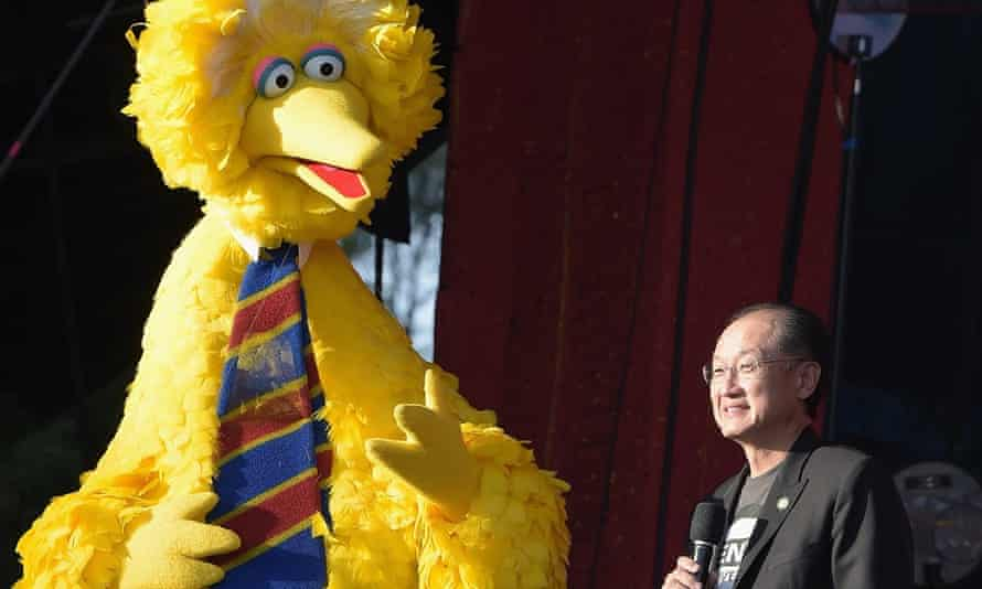 Big Bird and Jim Yong Kim at the Global citizen festival in Central Park, New York.